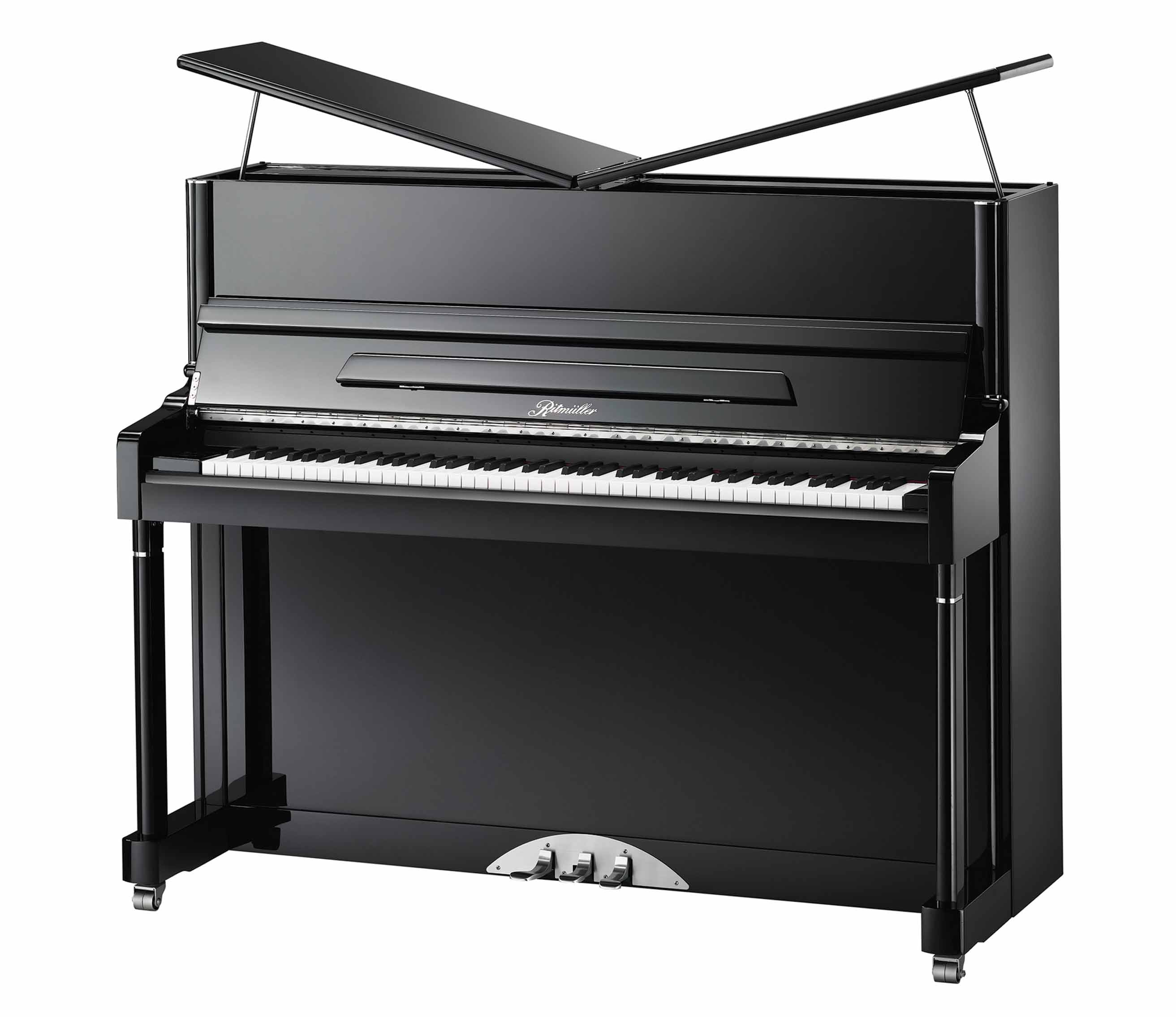 Ritmüller R2 Butterfly Lid Studio upright piano in Ebony Polish finish