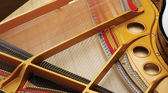 Close up of piano inside with Röslau music wire