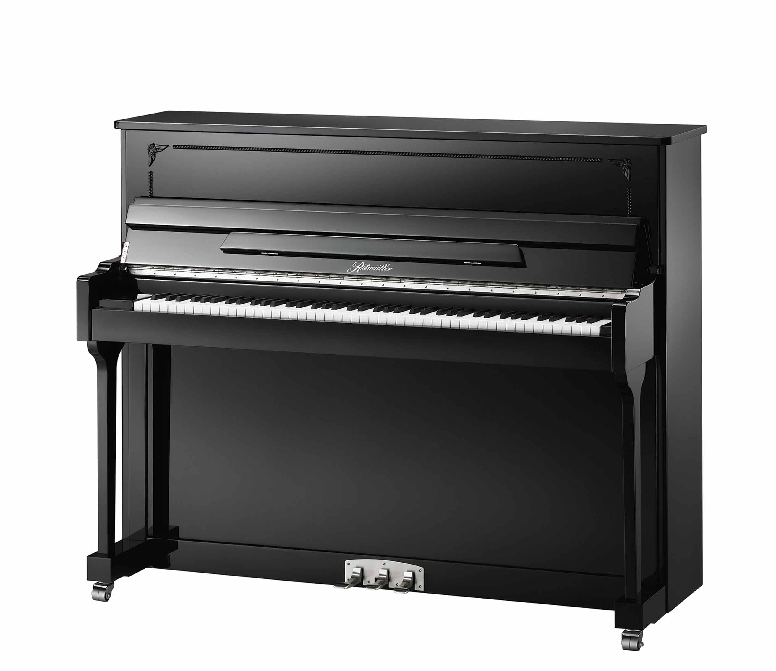 Ritmüller R1 Designer Case studio upright piano in Ebony Polish finish