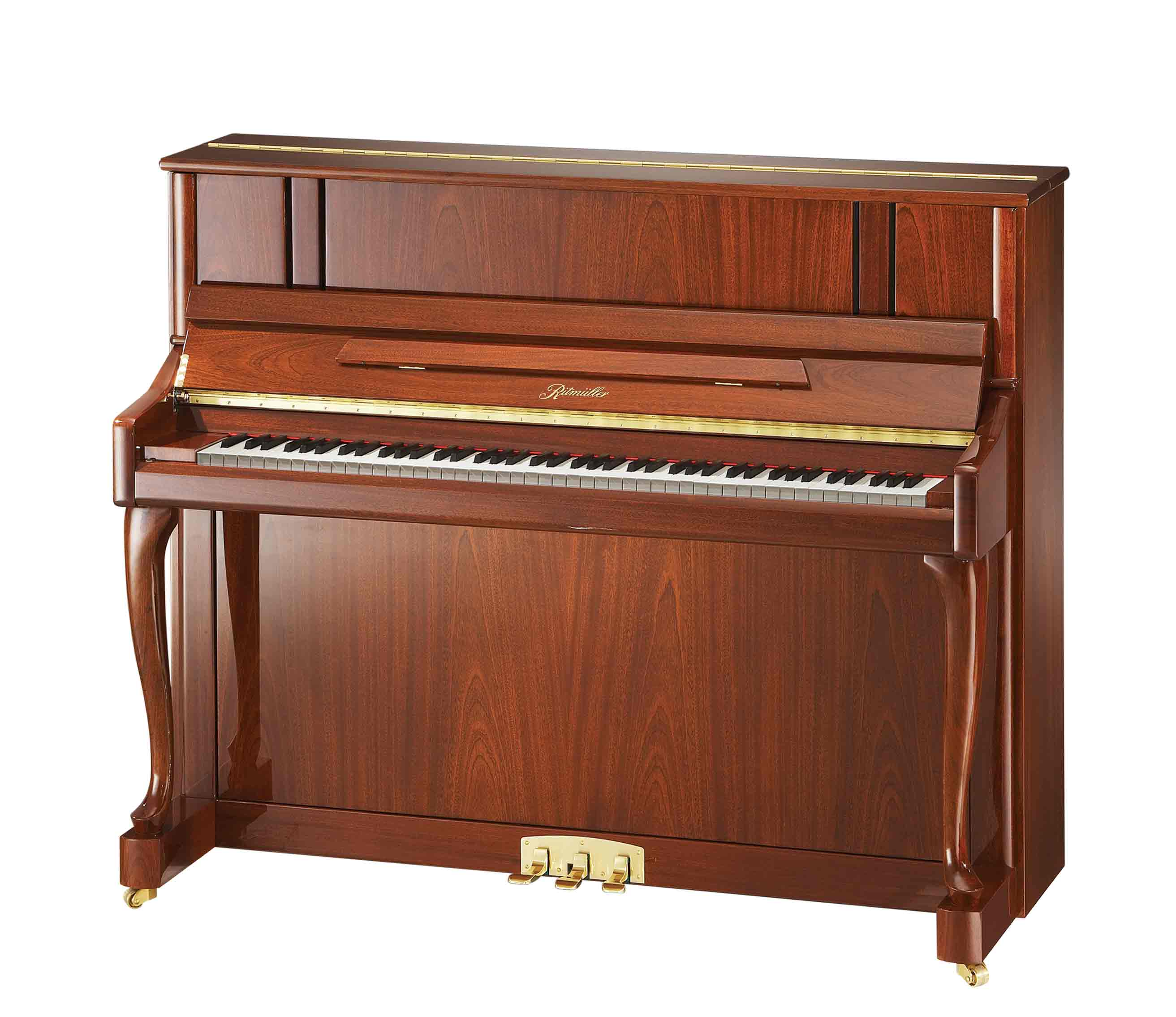 Ritmüller UH121R Cabriole Leg studio upright piano in Sapele Mahogany Polish finish