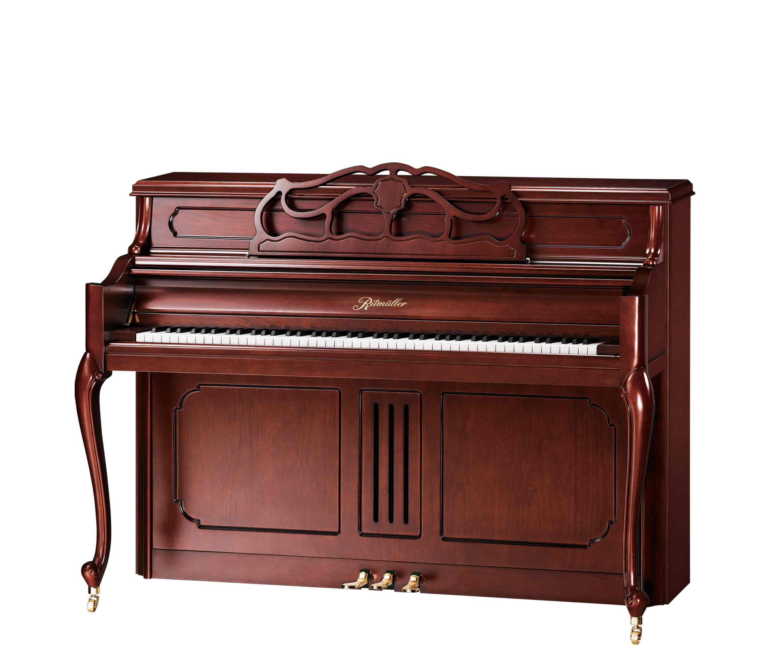 Ritmüller UP110RB French Provincial upright piano in Cherry Satin finish
