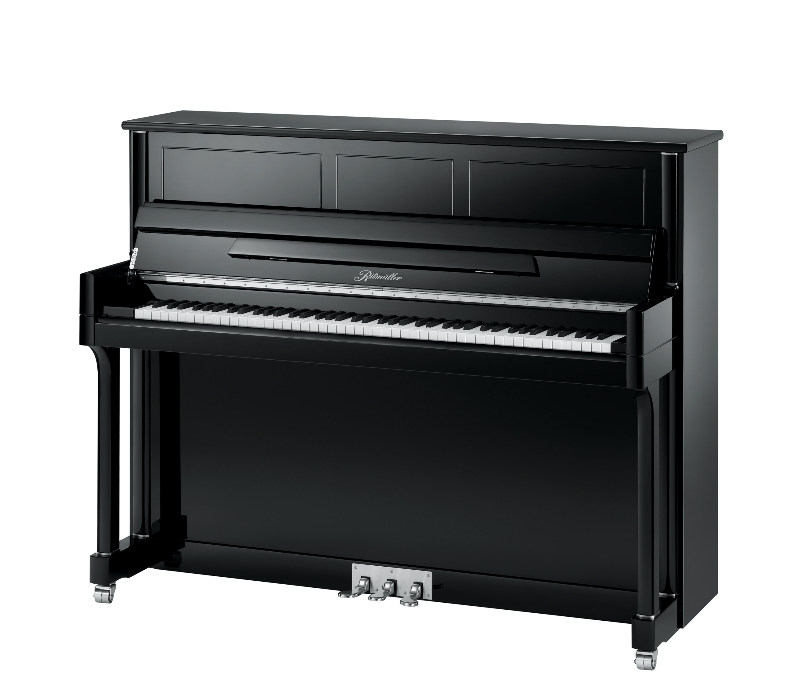Ritmüller UH121RA Straight Leg Studio upright piano in Ebony Polish finish